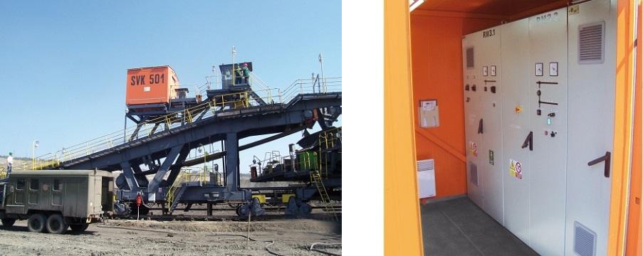 Uno shelter per impianti di distribuzione, con trasformatore, presso un cantiere edile