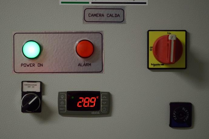 Il particolare del pannello di controllo della temperatura
